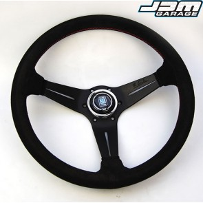 Nardi Deep Corn Steering Wheel - Suede with Black Spokes & Red Stitching - 350mm
