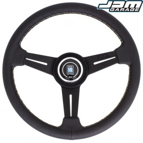 Nardi Classic Steering Wheel - Leather with Black Spokes & Grey Stitching - 330mm