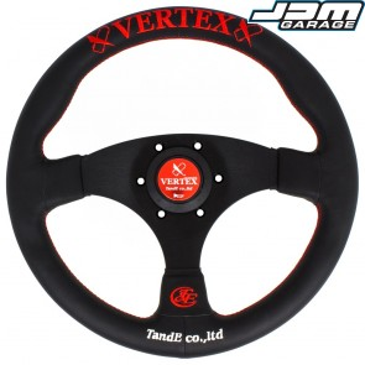 T&E Vertex JDM 320MM Steering Wheel - Flat Red - Flat Spokes Red Logo