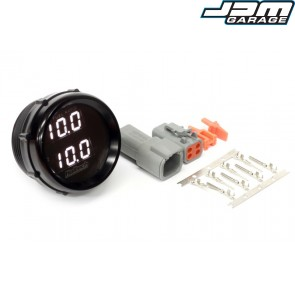 Wideband O2 Dual Channel Gauge Black Bezel with White LED Display