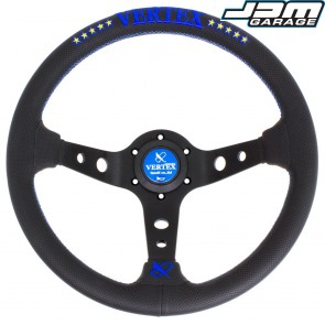 T&E Vertex JDM 330MM Steering Wheel - 10 Stars Blue
