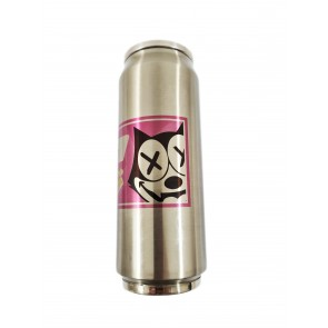 JDMGarageUK Pink BW Cat Stainless Steel Water Bottle Thermos 500ml