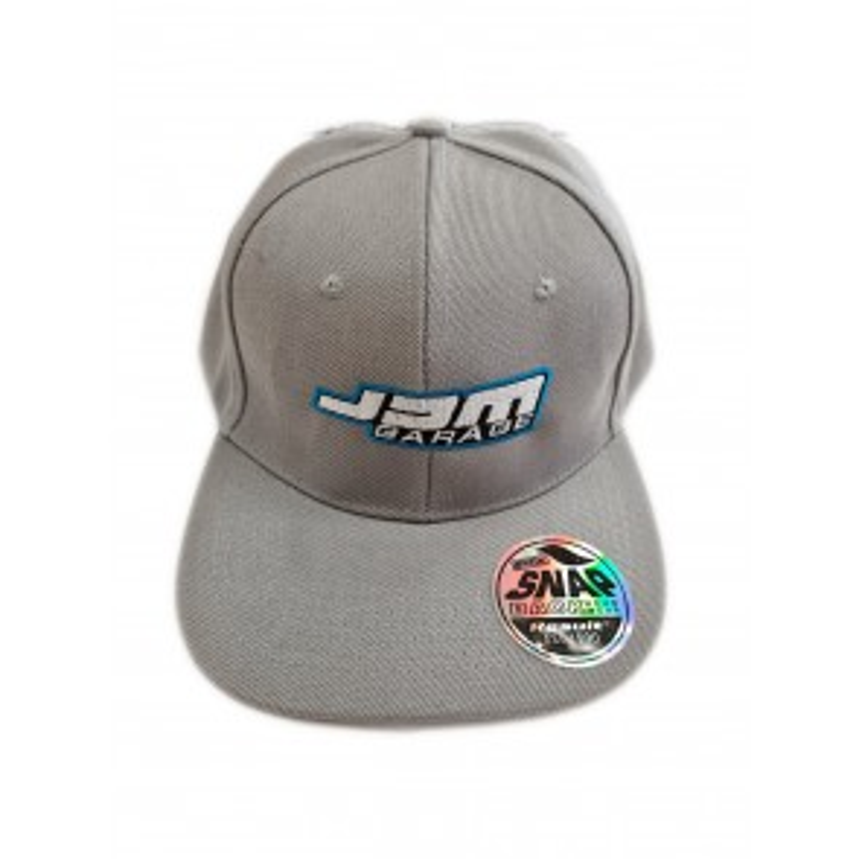 JDM Garage Flat Peak Snap Back Cap - Grey / Grey