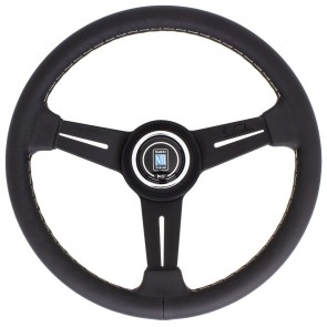 Nardi Classic Steering Wheel - Leather with Black Spokes & Grey Stitching - 360mm