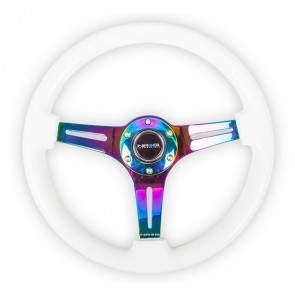 NRG Classic Wood Grain Wheel - 350mm 3 Neochrome spokes - Glow-in-the-dark Blue Color
