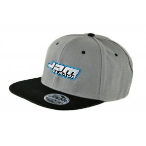 JDM Garage Flat Peak Snap Back Cap - Grey / Black