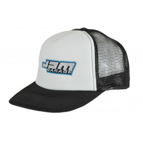 JDM Garage Vintage Trucker Snap Back Cap - White / Black Mesh