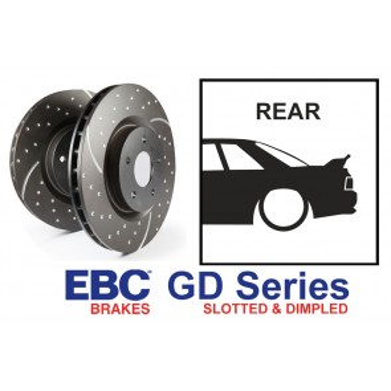 EBC GD Series Slotted and Dimpled Rear Brake Discs - Nissan Skyline R32 R33 GTST R34 GTT GTR