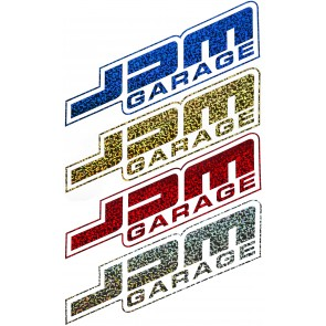 JDM Garage Logo Sticker - Glitter - Blue / Gold / Red / Silver