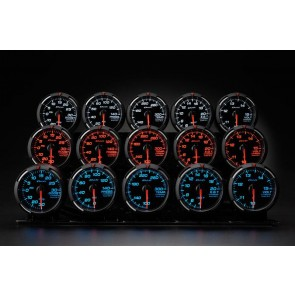 Defi Racer RG 52mm Gauges White, Blue & Red - Volt Pressure Temp Turbo Ext.Temp