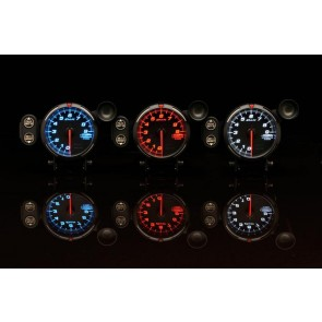 Defi Racer RG 80mm Gauges White, Blue & Red Tacho 9000 11000