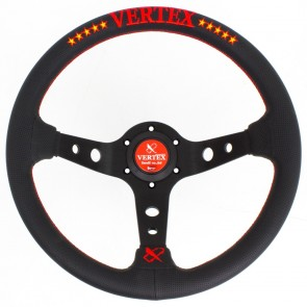 T&E Vertex JDM 330MM Steering Wheel - 10 Stars Red